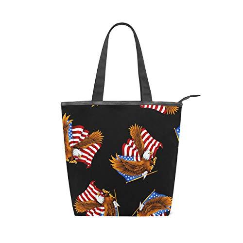 MNSRUU Große Canvas-Handtasche, Strandtasche, Reisetasche, Einkaufstasche, American Eagle und USA Flagge, gestreift, Sommerurlaub, Handtasche für Damen und Mädchen