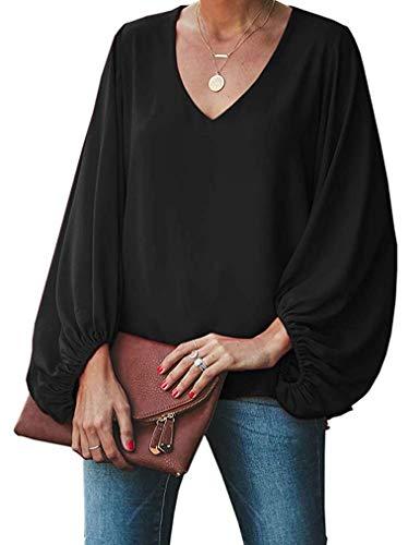 Womens Casual Mesh Sleeve Blouses Winter Fall V Neck Long Balloon Sleeve Shirt Loose Tunic Tops Plus Size Black 2X