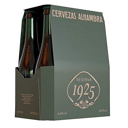 Alhambra - Reserva 1925 Cerveza Premium Extra Lager, 6.4% de Volumen de Alcohol - Pack de 6 x 33 cl