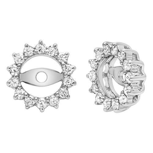 Chaqueta de plata de ley de 0,30 quilates para mujer, con diamantes redondos, extraíble para pendientes de broche 1/3 CTT