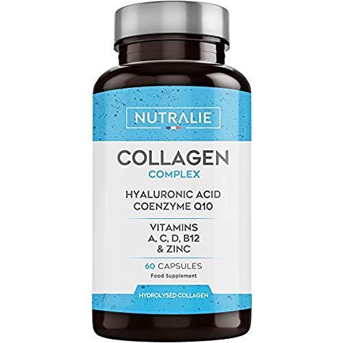 Collagene + Acido Ialuronico | Arricchito con Vitamina C, Zinco e Coenzima Q10 | Collagene Idrolizzato Per Mantenimento di Articolazioni, Ossa e Pelle | 60 Capsule | Prodotto da Nutralie