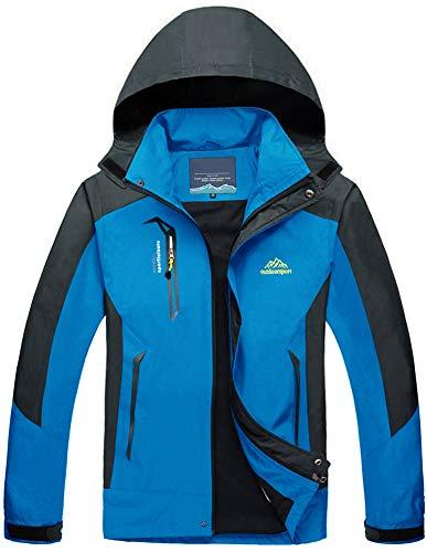 TACVASEN Atmungsaktiv Regenjacke Softshelljacke Arbeitsjacke Herren Wasserdicht Trekking Jacke Skijacke Windstopper, Blau