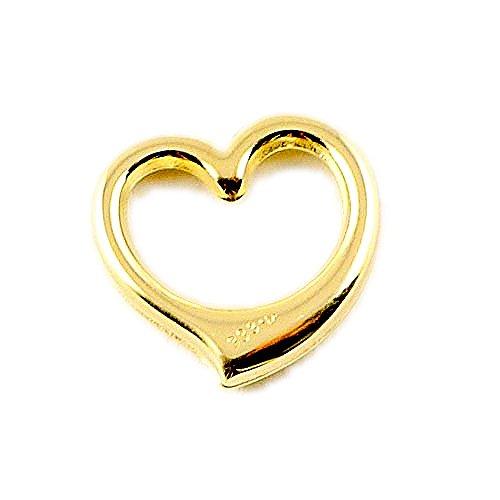 ASS{333} oro ciondolo aperto cuore su entrambi i lati 12 mm, lucidato