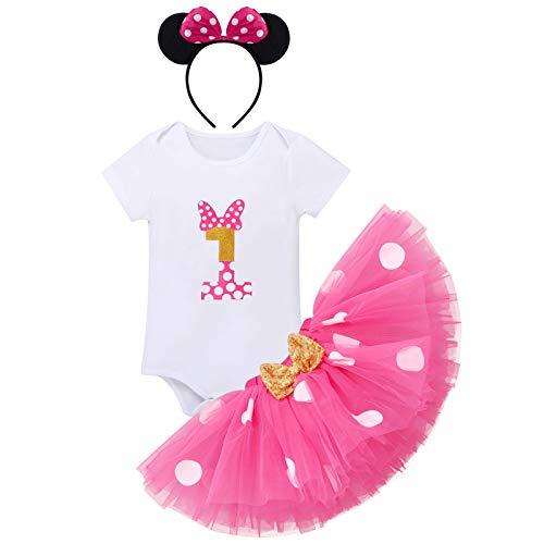FYMNSI - Conjunto de ropa para bebé y niña de 1 cumpleaños, de manga corta, de algodón, con falda de tul y cinta para la cabeza, 3 piezas Rosa 1 Año
