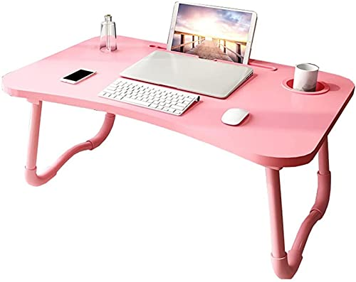 TEPET Klappbarer Computertisch Faltbare Schoßschreibtische mit Getränkehalter/Tablet-Halter zum Lernen auf Bett/Sofa/Couch Rosa