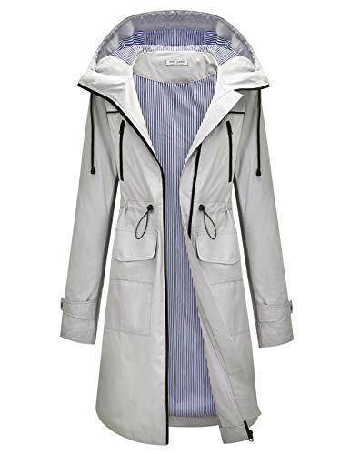 Womens Rain Coat Lightweight Hooded Long Raincoat Outdoor Breathable Rain Jackets Grey L