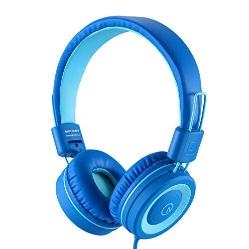 Kids Headphones-noot products K11 Foldable Stereo Tangle-Free 5ft Long cord 3.5mm Jack Plug in Wired On-Ear Headset for iPad/Amazon Kindle,Fire/Boy/Girl/School/Laptop/Travel/Plane/Tablet(Skyline blue)