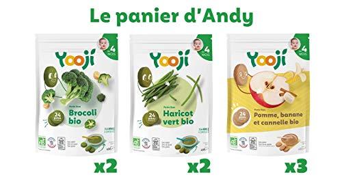 Yooji - Le panier d'Andy - Purées lisses de légumes ou fruits pour les bébés dès 4 mois - Bio et Surgelées - 3.4kg