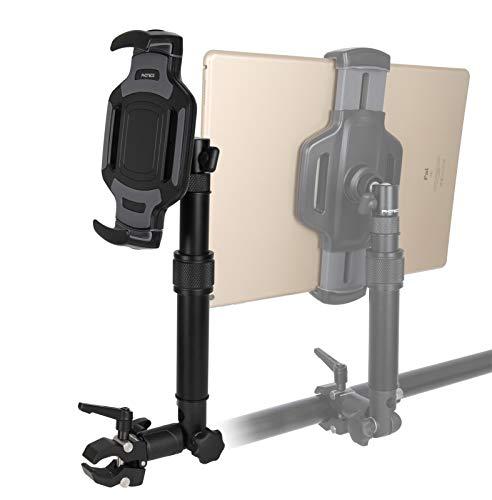 """PHOTECS® Tablet-Halterung Pro V4-K1, höhenverstellbar mit Winkelelement, für iPad Pro und andere Tablet-PC´s (von 6\"""" bis 14 Zoll) an Rudergerät, Heimtrainer, Ergometer-Lenker, Kommissionierwagen etc."""