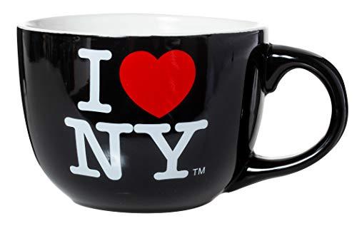 """Jumbo-Tasse / Suppentasse aus Keramik mit Aufschrift \""""I Love New York\"""", 568 ml, Schwarz"""