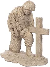 Solid Rock Stoneworks Kneeling Soldier at Cross Stone Military Statue 22in Tall