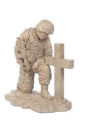 Kneeling Soldier At Fallen's Cross Stone Statue