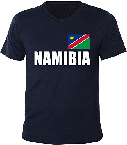 Mister Merchandise Herren V-Ausschnitt T-Shirt Namibia Fahne Flag, V-Neck, Größe: XXL, Farbe: Navy