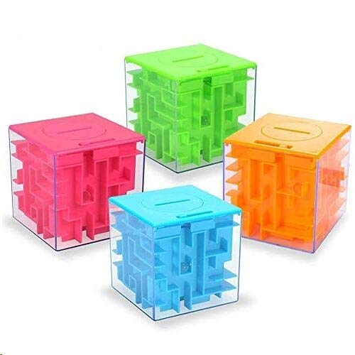 Twister.CK Money Maze Puzzle Box, Money Holder Puzzle für Kinder und Erwachsene Geburtstag (4er Pack) (Blau+Grün+Pink+Orange)