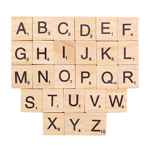 INTVN Lettere Alfabeto Legno Piccole Nero Lettere Numeri per Artigianato Giochi e Scrapbooking Bambini 200 Pezzi