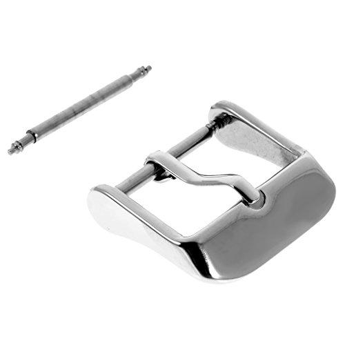 MagiDeal 18mm Edelstahl-Schnalle mit Pin Einschraub-Dornschließe für Uhren Armband