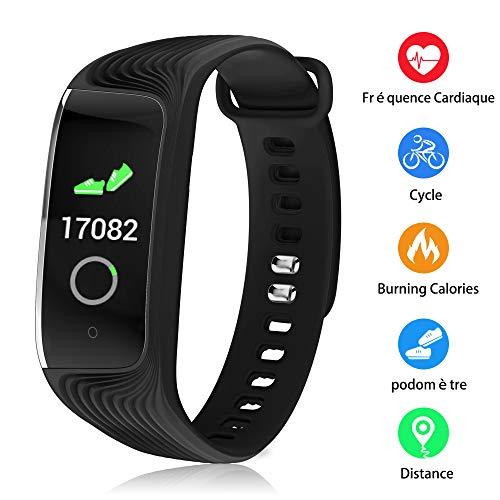 Udenx - Fitness Tracker Senza Fili, con cardiofrequenzimetro, monitoraggio delle attività da Donna, Impermeabile, IP67, notifiche, Braccialetto Intelligente per telefoni Android e iOS, Black 2
