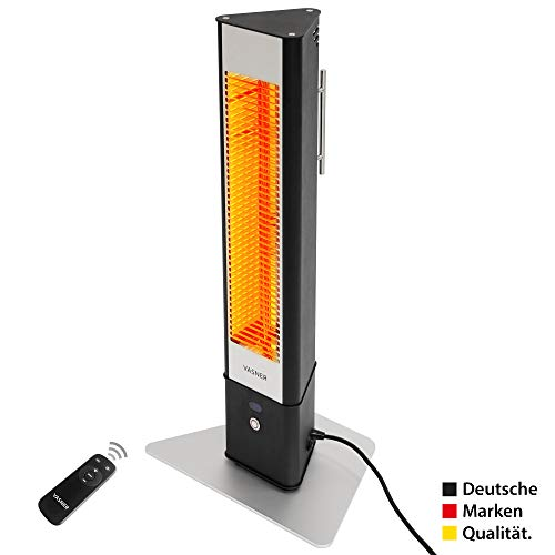 VASNER HeatTower Mini Stand-Heizstrahler 1500 W, Infrarotstrahler mit Standfuß, Fernbedienung, Terrassenstrahler elektrisch, IP65 Außenbereich Terrasse, schwarz
