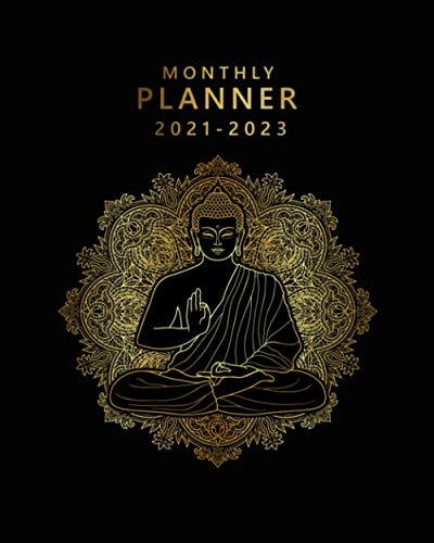 Monthly Planner 2021-2023: Spiritual Buddha 3 Year Agenda, Diary, Organizer |Three Year Calendar with To Do Lists, Vision Boards, Notes, Holidays | Golden Sacred Geometry Print