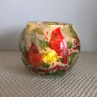 Romance Lights Tealight Candle Holder - Handmade Round Glass - with Flameless Flickering LED Candle - Floral Design - 5' x 4' (Red/Cardinals, 4 inch high by 5 inch Wide Round)