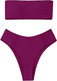 Women's High Cut Bandeau Bikini Set Strapless Solid Color 2 Pieces Bathing Suit Swimsuit