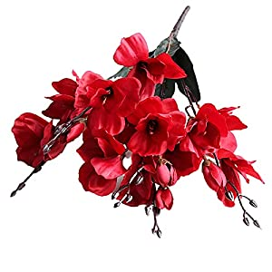 Silk Flower Arrangements Acamifashion 1 Pc Artificial Realistic Gladiolus Landscaping Crafts Bundle Real-Touch Faux Silk Flower Ornaments for Living Room Garden Balcony Yard Decor Red