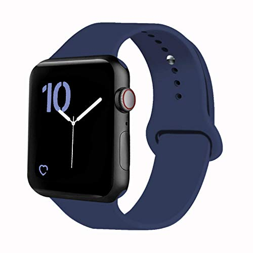 VATI Sport Band Compatible for Apple Watch Band 42mm 44mm, Soft Silicone Sport Strap Replacement Bands Compatible with 2019 Apple Watch Series 5, iWatch 4/3/2/1, 42MM 44MM S/M (Midnight Blue)