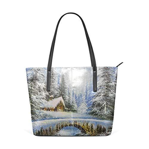 MyDaily Damen Handtasche Winterlandschaft Vintage Gemälde PU Leder Top Griff Schultertasche