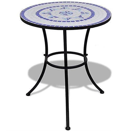 Anself Mosaiktisch Gartentisch Beistelltisch Rund Blau und Weiß 60 cm