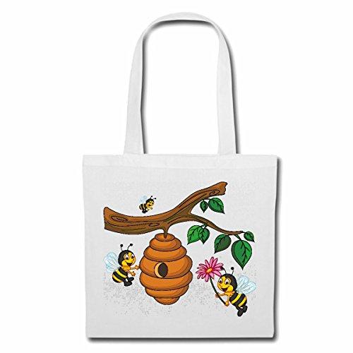 Tasche Umhängetasche LUSTIGE Bienen AM BIENENSTOCK WESPE Honig FALTENWESPEN HORNISSE Einkaufstasche Schulbeutel Turnbeutel in Weiß