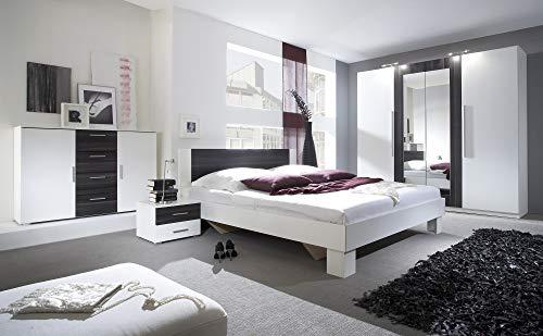 Furniture24 Schlafzimmer-Set Vera Elegante Bett, Kommode, Drehtürenschrank, Kleiderschrank, Bettgestelle, Schlafmöbel, Nachttische, Ehebett (180 x 200, Weiß/Nußbaum Schwarz)