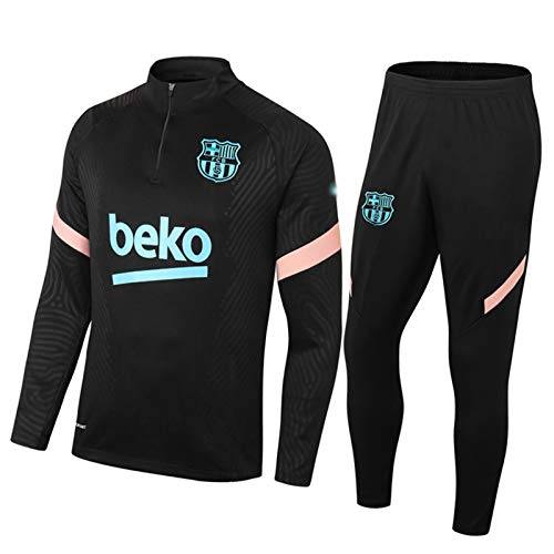 FIFE Bárcèlǒná Herren-Fußball-Trikots Set - Erwachsene Fußball-Trainingsanzug Langarm Sportswear Laufen Black-M