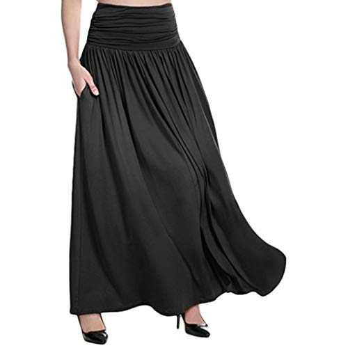 Rock Damen Lang Vielseitige Swing Kleid Frauen Hohe Taille Maxi Rock Solide Casual Swing Gypsy Langen Rock Plus Größe Freizeitkleid Elastische Bund Rock ABsoar (Schwarz,XXXXXL)