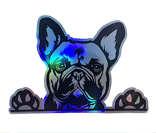 WickedGoodz French Bulldog Holographic Decal - Dog Paws Breed Bumper Sticker - for Laptops Tumblers Windows Cars Trucks Walls