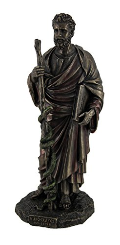 Veronese Design Hippocrates Greek Father of Medicine Holding Book & Staff Bronze Finish Statue