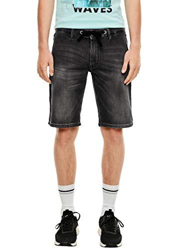 Q/S designed by - s.Oliver Damen Regular Fit: Dunkle Jeans-Bermuda Grey sretched Deni 34