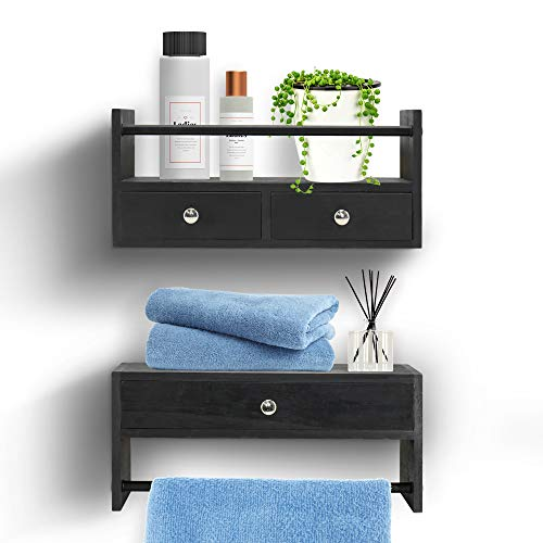 Y&ME YM Bathroom Shelf with Drawers Set of 2, Floating Nightstands for Bedroom, Wall Shelf with...