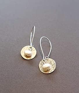 Handmade Lightweight Small Womens Silvertone White Pearl Disc Drop Earrings Beads by Bettina