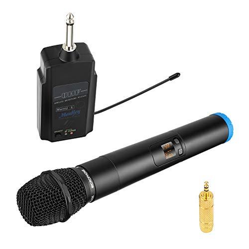 Moukey UHF - Micrófono inalámbrico de 25 canales, micrófono dinámico de mano inalámbrico para noches de karaoke y fiestas en casa para divertirse sobre el mezclador, sistema PA y altavoces -MwmU-4