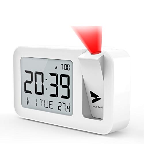 Hosome Projection Alarm Clock, Digital Alarm Clock with Indoor Temperature, 4 Adjustable Projection Brightness, 2 Level Volume, 9-Minute Snooze Function, 12/24H Setting for Bedroom, Office