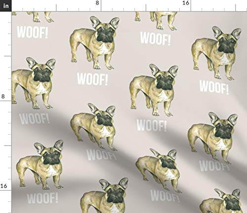 Spoonflower Fabric - Frenchie French Bulldog Dogs English Puppy Little Fawn Printed on Petal Signature Cotton Fabric by The Yard - Sewing Quilting Apparel Crafts Decor