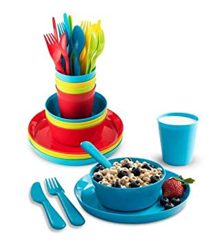 Plaskidy Kids Dinnerware Set for 4-24 Piece Plastic Childrens Dishes Dinnerware Sets Microwave/Dishwasher Safe BPA Free - Toddler Dinner Set Includes Kids Plates and Bowls Kids Cups Flatware Set