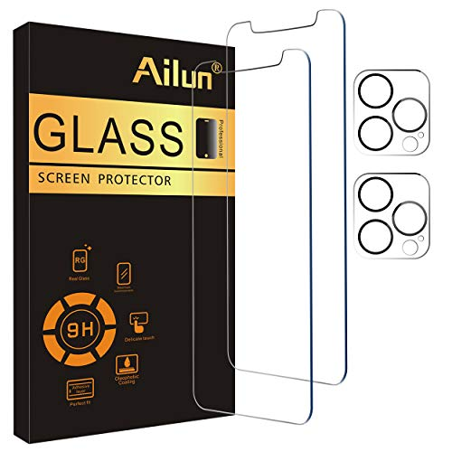 Ailun 2Pack Screen Protector Compatible for iPhone 12 Pro[6.1 inch] + 2 Pack Camera Lens Protector,Tempered Glass Film,[9H Hardness] – HD