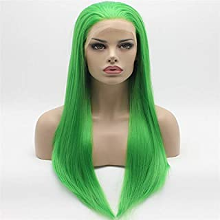 Lace Front Synthetic Wigs Straight Long 24inch Green Wig Hand Tied Heavy Density Realistic Wigs