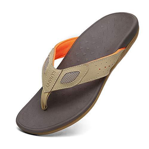 Men's Sandal Flip Flops with Orthotic Arch Support Athletic Slide Beach Toe-Post Comfort Slippers Khaki Orange Size 11