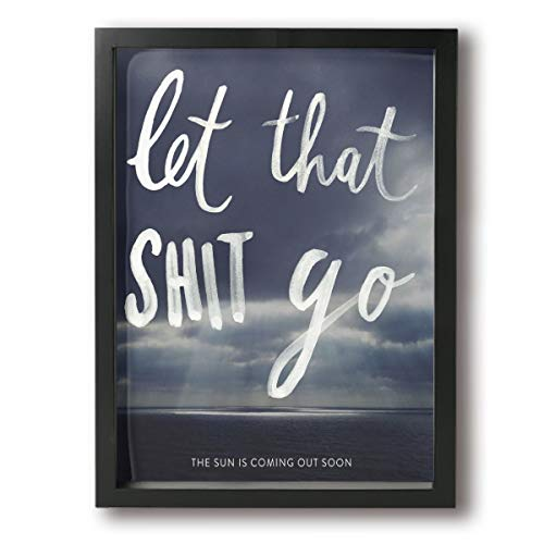 BLOOM SOMEWHERE Zen Buddha Wall Art Let That Bad Things Go Funny Bathroom Sign Wall Decoration Minimalist Home Zen Decor Wooden Frame Ready to Hang 12X16 inches