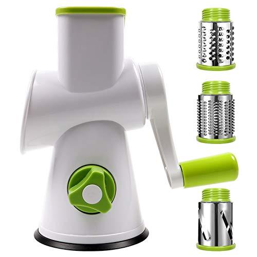 Rallador de queso giratorio – Mandolina redonda con 3 cilindros intercambiables ultra afilados, cuchillas de acero inoxidable, apto para lavavajillas