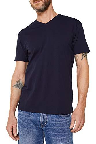 ESPRIT Herren V-Neck Basic T-Shirt, 400/NAVY, S