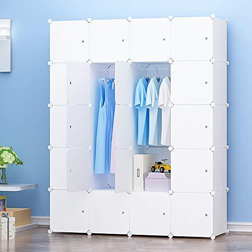 JOISCOPE Abstellschrank, Schlafzimmer Tragbare Schrank, Modularer Kunststoffschrank Mit Schiene, Weiß(20 Kubik)