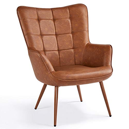 YAHEETECH Faux Leather Armchair PU Leather Arm Chair Accent Chair Contemporary Wingback Chair Living Room Chair Reading Chair for Living Room Bedroom Dining Room Brown
